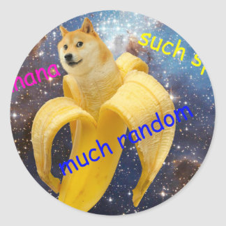 Banane   - Doge - shibe - Raum - wow Doge Runder Aufkleber