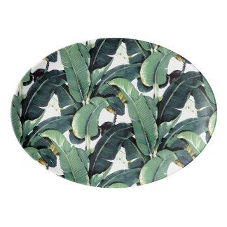 Banane verlässt Palme ovale Porzellan Servierplatte