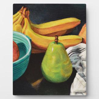 Bananen-Apple-Birnen-Stillleben Fotoplatte