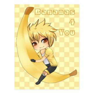Bananen-Junge chibi Postkarte