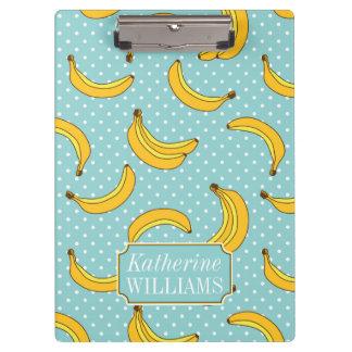 Bananen und Polk-Punkte | addieren Ihren Namen Klemmbrett