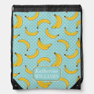 Bananen und Polk-Punkte | addieren Ihren Namen Turnbeutel