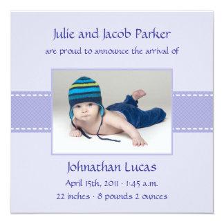 Band-Baby-Geburt - Blau Quadratische 13,3 Cm Einladungskarte