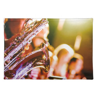 Band-Musik-Musikinstrument-Saxophon-Hörner Tischset