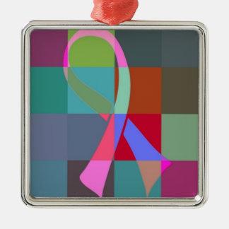 Band psychedelisch quadratisches silberfarbenes ornament