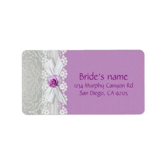 Band-Rosen-Silber-Damast-Lavendel-Adressen-Etikett Adressaufkleber