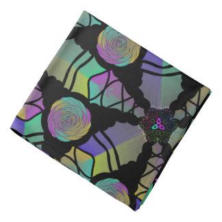 Bandana Jimette Design gelbes grün violettes Halstuch