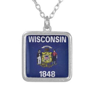 Bandeira De Wisconsin Versilberte Kette