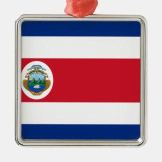 Bandera De Costa Rica - Flagge von Costa Rica Silbernes Ornament