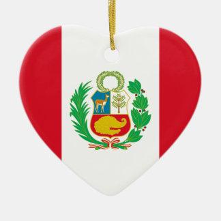 Bandera Del Perú - Flagge von Peru Keramik Herz-Ornament