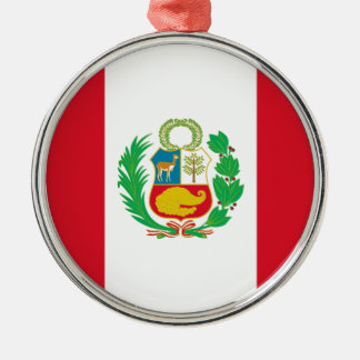 Bandera Del Perú - Flagge von Peru Silbernes Ornament