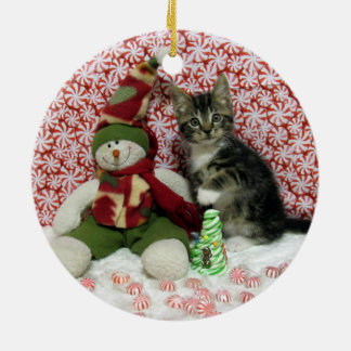 Bandit-Kätzchen-Katzen-Rettungs-Weihnachten Rundes Keramik Ornament