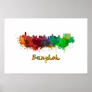 Bangkok skyline im Watercolor Poster