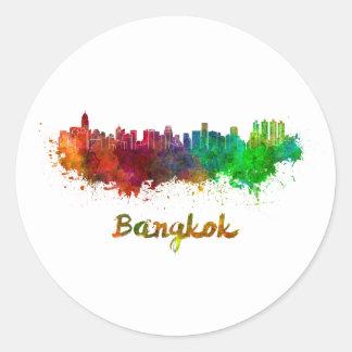 Bangkok skyline im Watercolor Runder Aufkleber