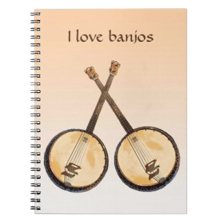 Banjo-Musik-Instrument-Orangen-Notizbuch Notizblock