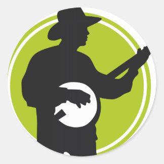 Banjo Player Runder Aufkleber