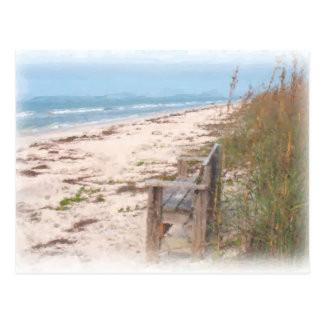 Bank an der Strand-Aquarell-Malerei Postkarte