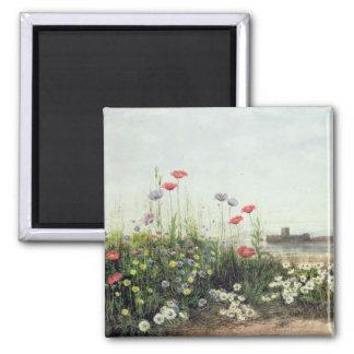 Bank der Sommer-Blumen Quadratischer Magnet