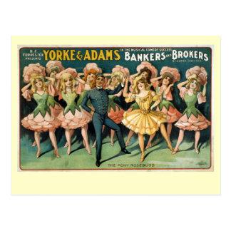Banker-und Vermittler-Vintages Theater-Plakat Postkarte