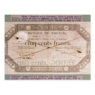 Banknote für 500 Franken vom 24. Keim Postkarte