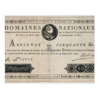 Banknote mit 50 Livren, am 29. Oktober 1790 Postkarte