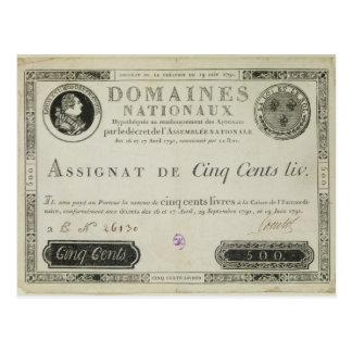 Banknote mit fünfhundert Livren, am 19. Juni 1791 Postkarte