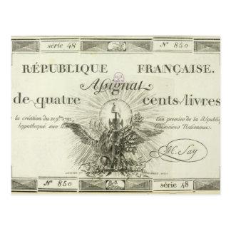 Banknote mit vierhundert Livren, am 21. September Postkarte