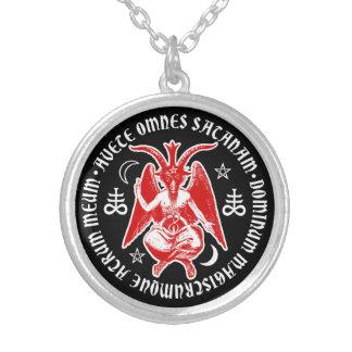 Baphomet mit satanischen Kreuzen u. Pentagrams Halskette Mit Rundem Anhänger