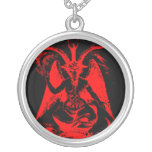 Baphomet rote Sterlingsilber-Halskette