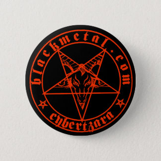 Baphomet roter Knopf Runder Button 5,1 Cm