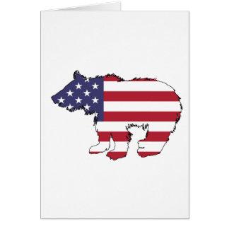 """Bär """"amerikanische Flagge """" Grußkarte"""