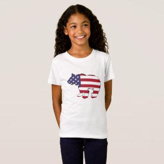 """Bär """"amerikanische Flagge """" T-Shirt"""