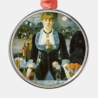 Bar beim Folies Bergere durch Manet, Vintage Kunst Silbernes Ornament