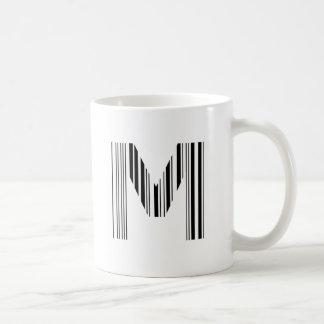 BAR-CODE des BUCHSTABE-M erstes Kaffeetasse