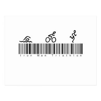 Bar-Code-Eisen-Mann Tri Postkarte
