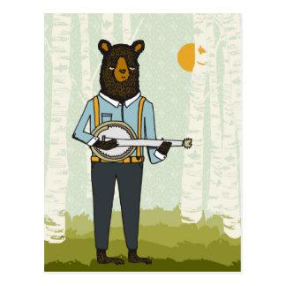 Bär, der Banjo spielt Postkarte