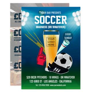 Bar-Fußball-Ereignis-Menü addieren Logo Karte