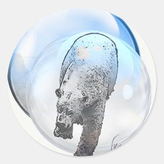 Bär im Blasenmotiv Runder Aufkleber