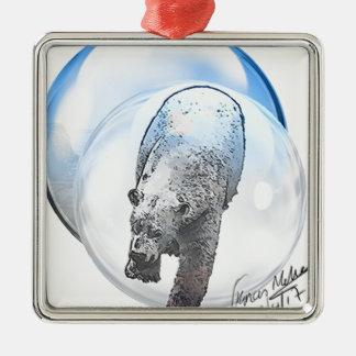 Bär im Blasenmotiv Silbernes Ornament