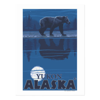 Bär im Mondschein - Yukon, Alaska Postkarte