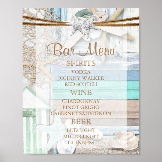 Bar-Menü - strandnahe Hochzeit Poster
