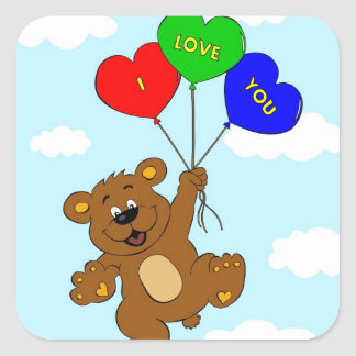 Bär mit Ballonen in den Liebe-Cartoonkindern Quadratischer Aufkleber