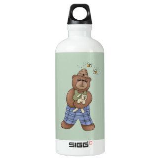 Bär mit Bienen-Hut und halten Häschen Wasserflasche