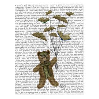 Bär mit Buch-Schmetterlingen Postkarte