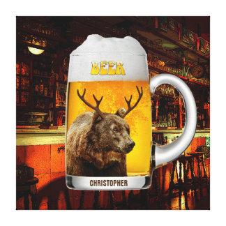Bär mit Rotwild-Horn-Bier-Tassepub-Inhaber-coolem Leinwanddruck