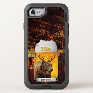 Bär mit Rotwild-Horn-Bier-Tassepub-Inhaber-coolem OtterBox Defender iPhone 8/7 Hülle