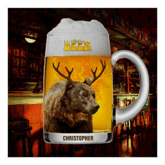 Bär mit Rotwild-Horn-Bier-Tassepub-Inhaber-coolem Poster