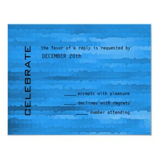 Bar Mitzvah blaue Techno Streifen 10,8 X 14 Cm Einladungskarte