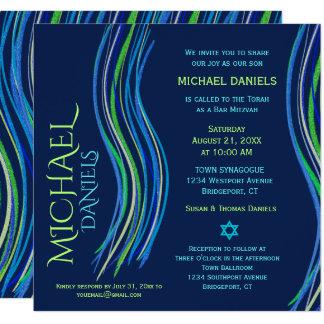 Bar Mitzvah blaue und grüne Gebets-Schal-Einladung Karte