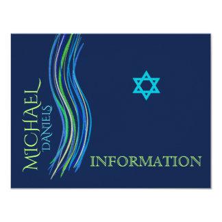 Bar Mitzvah blaue und grüne Informations-Karte Karte